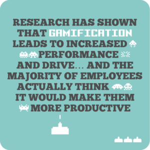 Creative internal comms ideas to re-energise employees quote 5: Research has shown that gamification leads to increased performance and drive… and the majority of employees actually think it would make them more productive